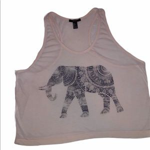Forever21 Elephant Cropped Tank